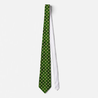 Verde con el lazo de la flor de lis del oro corbatas