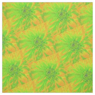 Verde con la dalia anaranjada del fondo telas