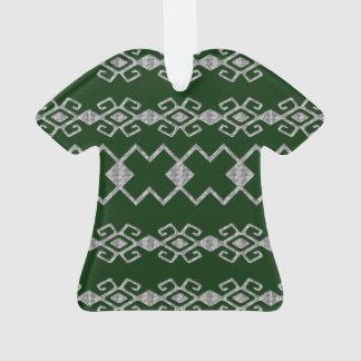 Verde de Bizancio y acrílico de plata Adorno