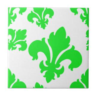 Verde de la flor de lis 4 tejas  cerámicas