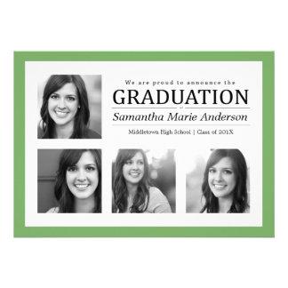 Verde de la invitación de la graduación del collag