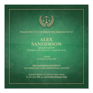 Verde de la invitación el   de la graduación del