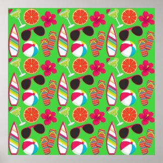 Verde de la pelota de playa de las gafas de sol de posters