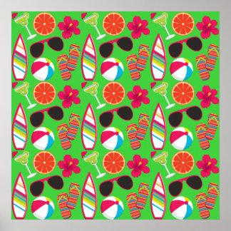 Verde de la pelota de playa de las gafas de sol de impresiones