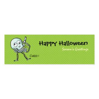Verde de la señal de Halloween del cráneo Tarjetas De Visita