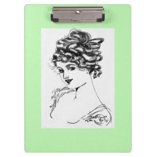 Verde de la señora 1917 del retrato del estilo de carpeta de pinza