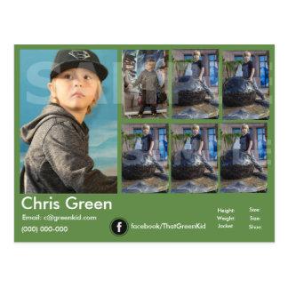 verde de la tarjeta de los comp del Headshot del