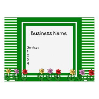 Verde de la tarjeta de visita con las flores grand
