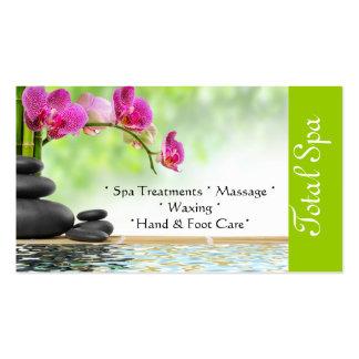 Verde de la tarjeta de visita del salón del masaje