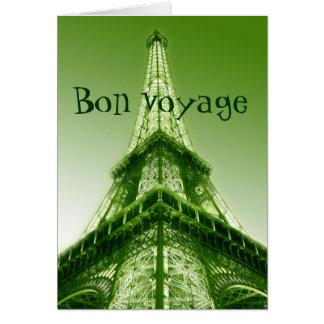 Verde de la tarjeta del viaje de la torre Eiffel