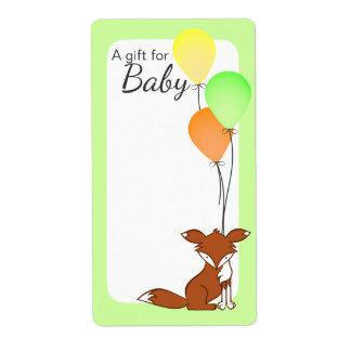 Verde de las etiquetas del libro del bebé del Fox Etiqueta De Envío