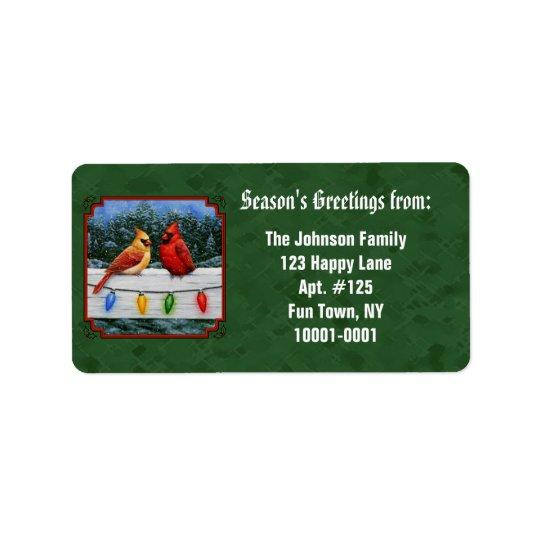 Verde de las luces de los cardenales y de navidad etiquetas de dirección