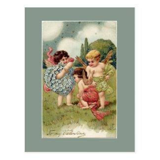Verde de las querubes de la tarjeta del día de San Postal