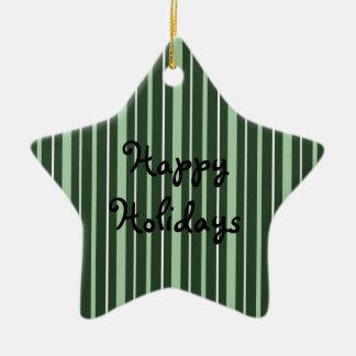 Verde de las telas a rayas 2 - buenas fiestas adorno de cerámica en forma de estrella