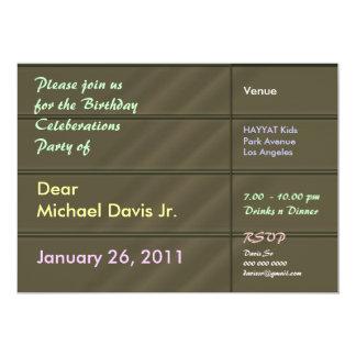 Verde de lujo del satén con el texto de la muestra invitación 12,7 x 17,8 cm