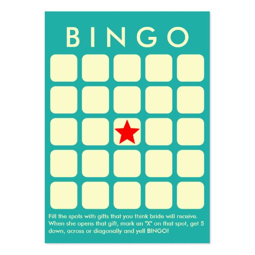Verde de mar ligero 5 x tarjeta nupcial del bingo  tarjeta de negocio