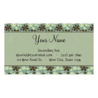 Verde de mar retro de las flores con las rayas y e plantilla de tarjeta personal
