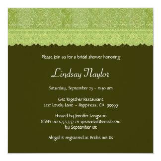 Verde de musgo con la ducha nupcial del damasco y invitación 13,3 cm x 13,3cm