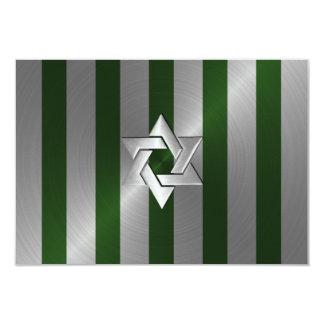 Verde de musgo de Mitzvah de la barra y raya de la Invitaciones Personales