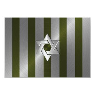 Verde de musgo de Mitzvah de la barra y raya de la Invitacion Personal