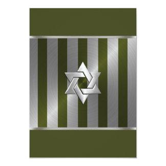 Verde de musgo de Mitzvah de la barra y raya de la Invitaciones Personalizada