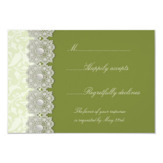 Verde de musgo del cordón y de las perlas que casa invitacion personal