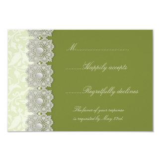 Verde de musgo del cordón y de las perlas que casa invitación 8,9 x 12,7 cm