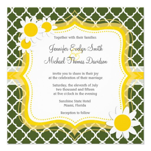 Verde de musgo oscuro Quatrefoil; Margarita Invitaciones Personales