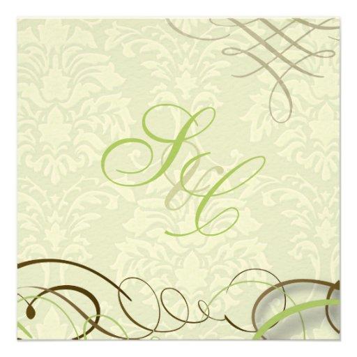 Verde de musgo/volutas/swooshes/damasco de marfil comunicado personal