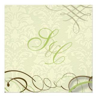 Verde de musgo volutas swooshes damasco de marfil comunicado personal