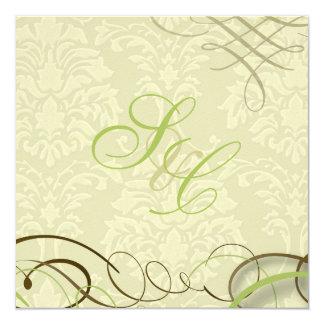 Verde de musgo/volutas/swooshes/damasco de marfil invitación 13,3 cm x 13,3cm