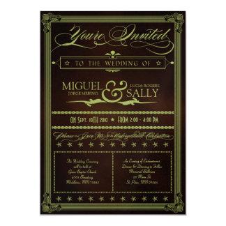 Verde de musgo y invitación del boda del chocolate