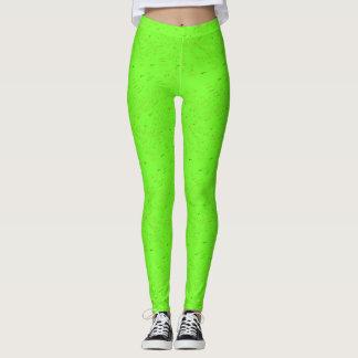 Verde de neón con las polainas de los puntos leggings