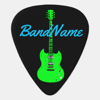 verde de neón en el negro, eléctrico uñeta de guitarra