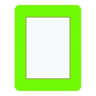 Verde de neón fluorescente brillante invitación 10,8 x 13,9 cm