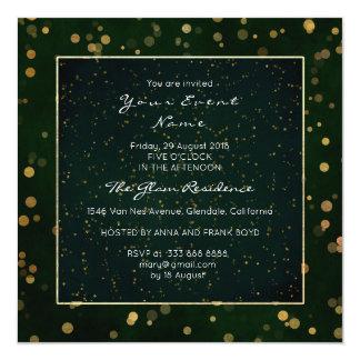 Verde de oro de Cali de la noche estrellada del Invitación 13,3 Cm X 13,3cm