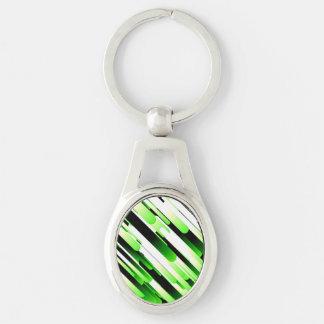 Verde del alto contraste llavero plateado ovalado