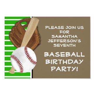 Verde del béisbol/cumpleaños/fiesta de Brown Invitación 11,4 X 15,8 Cm