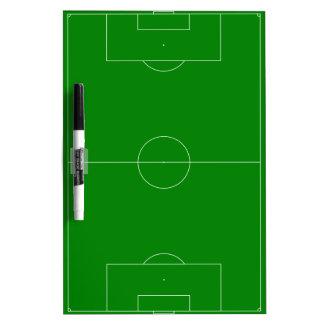 Verde del campo de fútbol pizarra blanca