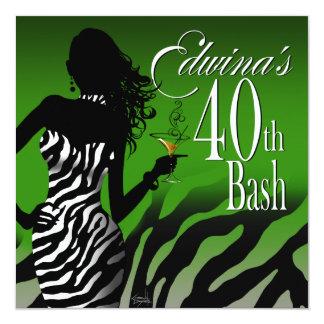 Verde del cumpleaños de Edwina de la cebra de la Invitación 13,3 Cm X 13,3cm