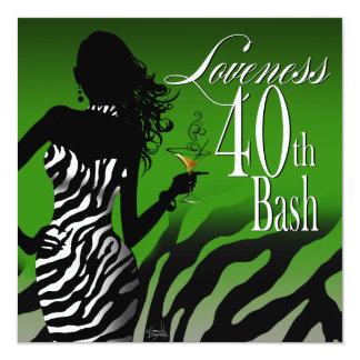 Verde del cumpleaños de Loveness de la cebra de la Invitación 13,3 Cm X 13,3cm