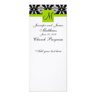 Verde del damasco del monograma del programa de la invitación personalizada