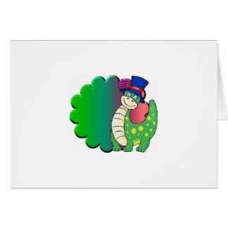 Verde del dinosaurio tarjeta de felicitación
