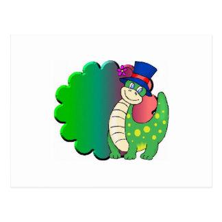 Verde del dinosaurio tarjeta postal