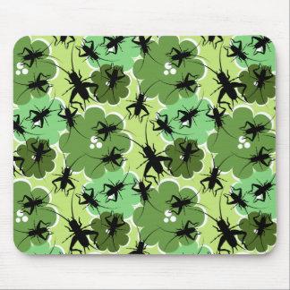 Verde del estampado de flores del grillo + Negro Alfombrilla De Ratón