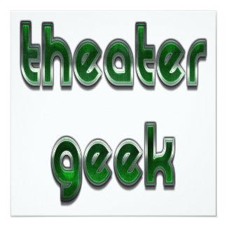 Verde del friki del teatro invitación 13,3 cm x 13,3cm
