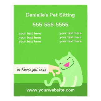 Verde del gato del cuidado de animales de compañía flyer
