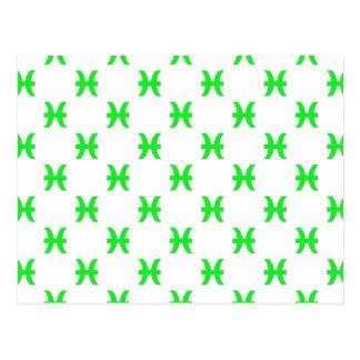 Verde del modelo de Piscis Tarjeta Postal