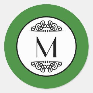 Verde del monograma del vintage - pegatina del