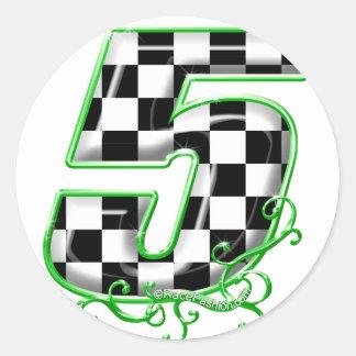 verde del número 5 el competir con auto etiquetas redondas